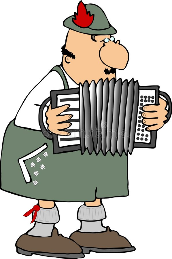 German Accordion Player. This illustration depicts a German accordion player dressed in lederhosen vector illustration