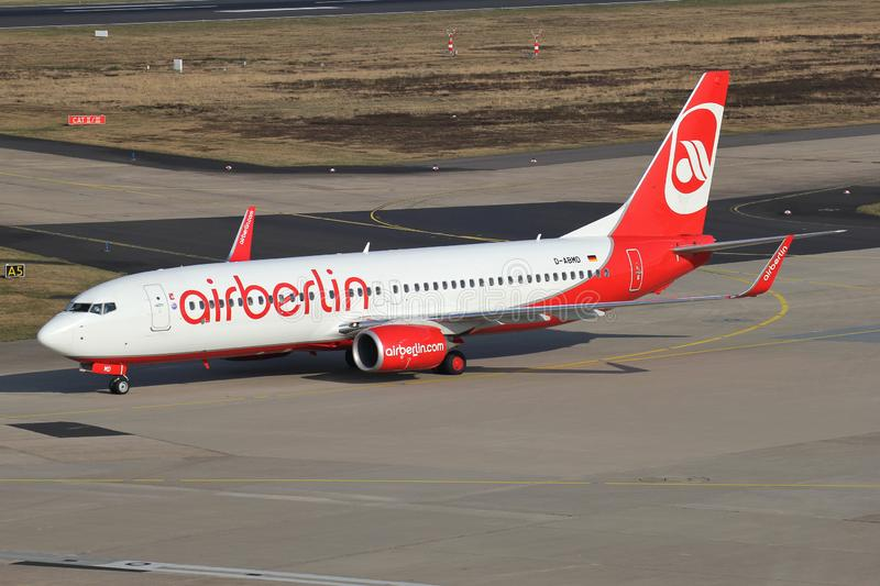 Air Berlin Boeing 737-800. German Air Berlin Boeing 737-800 with registration D-ABMD taxiing to terminal. Air Berlin filed for insolvency on 15 August 2017 royalty free stock image