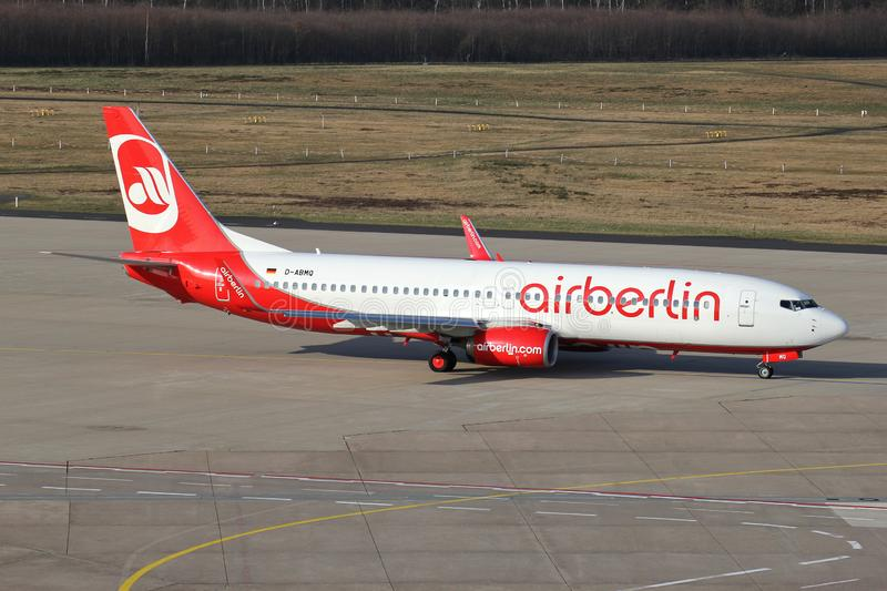 Air Berlin Boeing 737-800. German Air Berlin Boeing 737-800 with registration D-ABMQ taxiing to runway 14L. Air Berlin filed for insolvency on 15 August 2017 royalty free stock photography