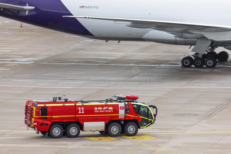 German airport fire truck at cologne bonn airport in germany. Cologne, North Rhine-Westphalia/germany - 02 11 19: german airport fire truck at cologne bonn royalty free stock photography