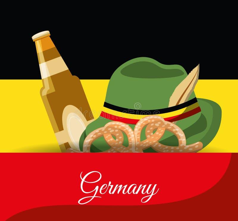 Germany design concept. German Alpine Hat with beer bottle and pretzel over germany flag. colorful design vector illustration stock illustration