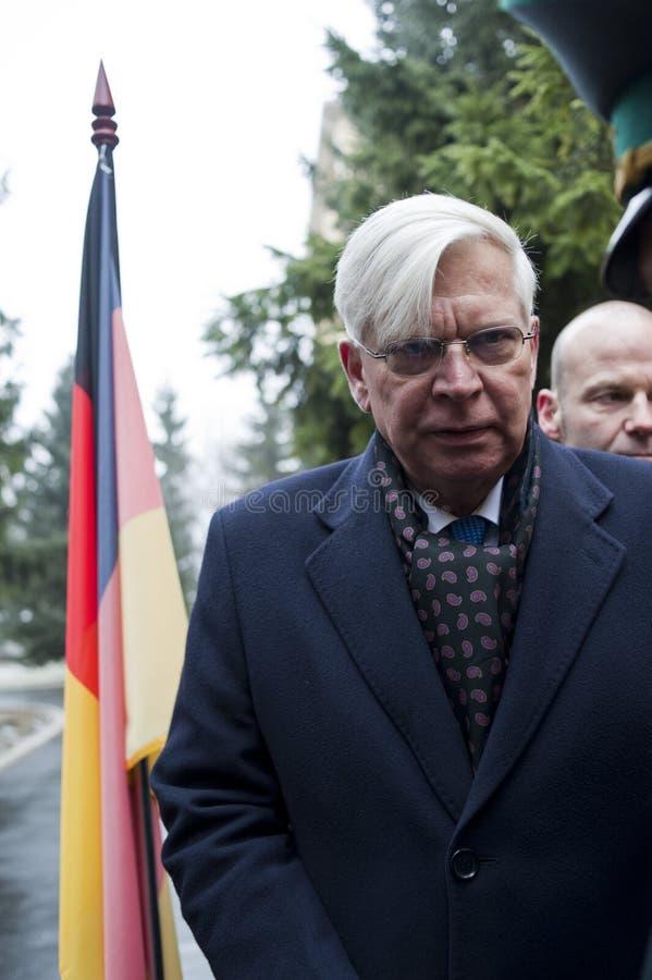 German Ambassador. January 16, 2015. Kiev Ukraine. German Ambassador to Ukraine Christoph Weil sends humanitarian aid stock photo