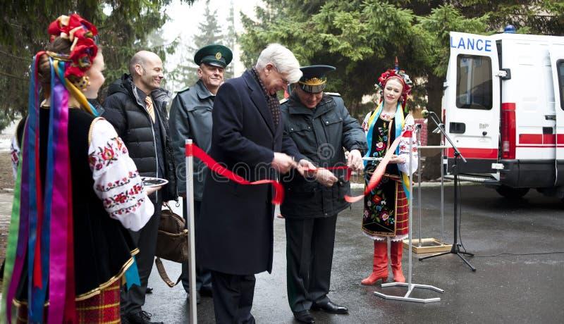 German Ambassador. January 16, 2015. Kiev Ukraine. German Ambassador to Ukraine Christoph Weil sends humanitarian aid royalty free stock images
