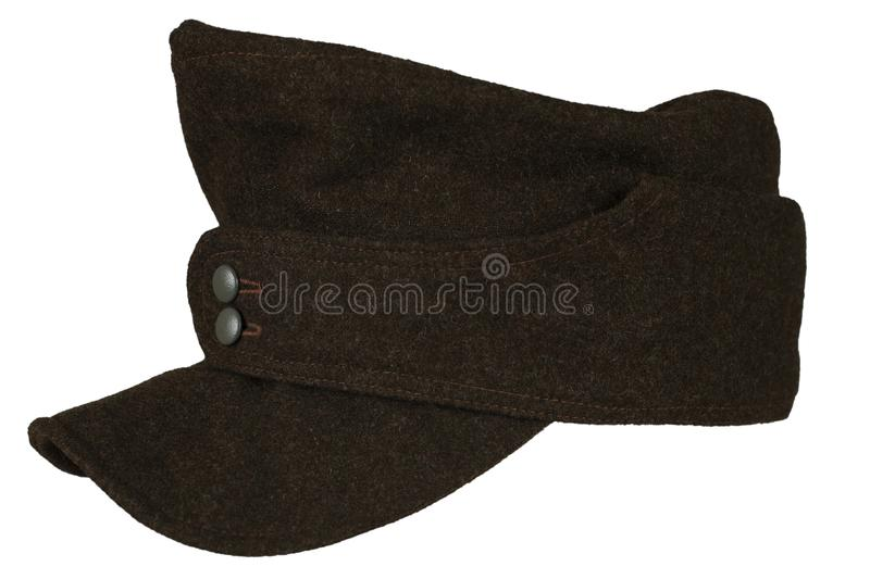 German Army infantry grey kepi World War II period isolated on a white background royalty free stock image