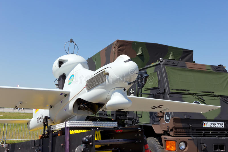 German Army UAV drone. BERLIN, GERMANY - MAY 22, 2014: Unmanned aerial vehicle EMT Luna X-2000 of the German Air Force at the International Aerospace Exhibition royalty free stock photos