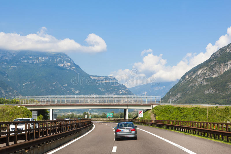 German Autobahn in Bavarian Alps. GERMANY - OCTOBER 18, 2016: View of driver looking at cars on German Autobahn in Bavarian Alps, October 18, 2016 stock photos