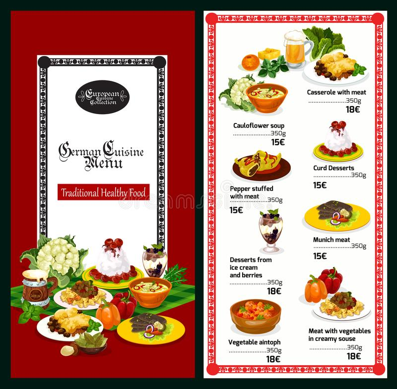 German and bavarian cuisine restaurant menu. German cuisine restaurant menu template of traditional bavarian food and drink. Meat stew and casserole with royalty free illustration