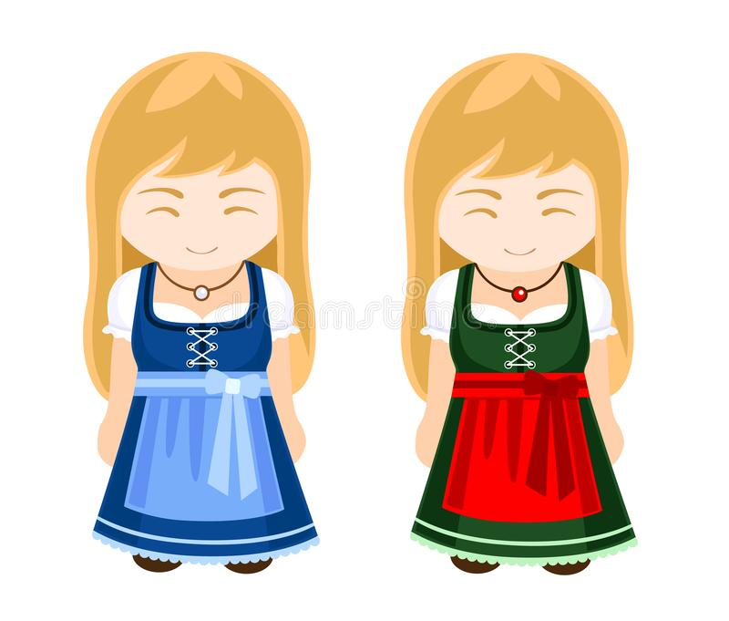 German, bavarian girls in national dress, traditional clothes. Travel to Germany. Vector illustration royalty free illustration