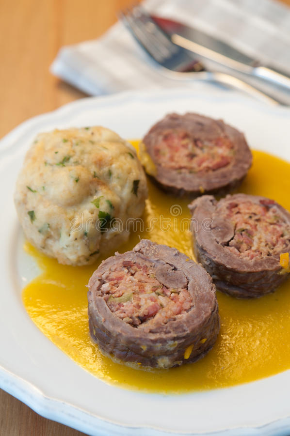 German beef roulade stock photography
