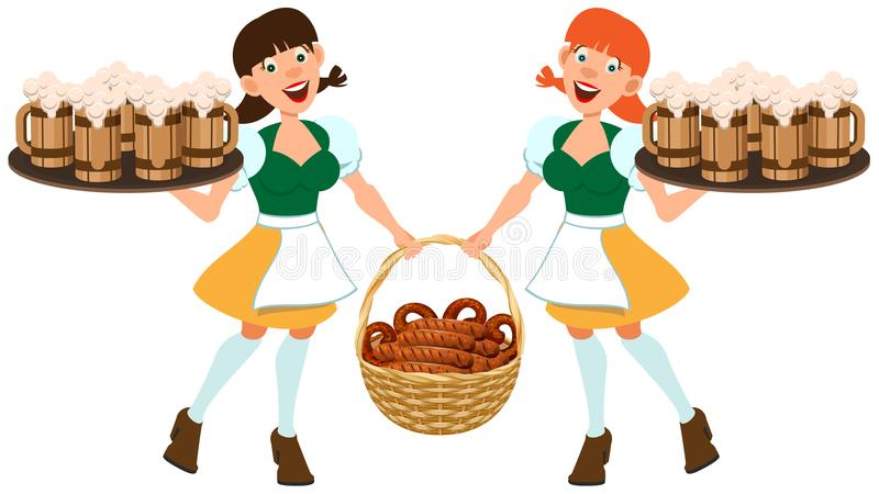 German beer festival Oktoberfest. Two German women hold tray of beer and basket of fried sausages stock illustration