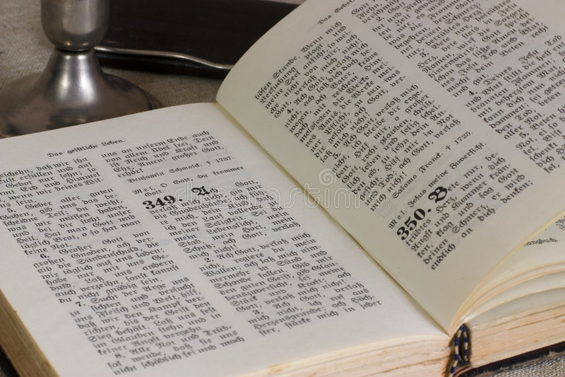 German Bible. Written in Gothic style stock photos