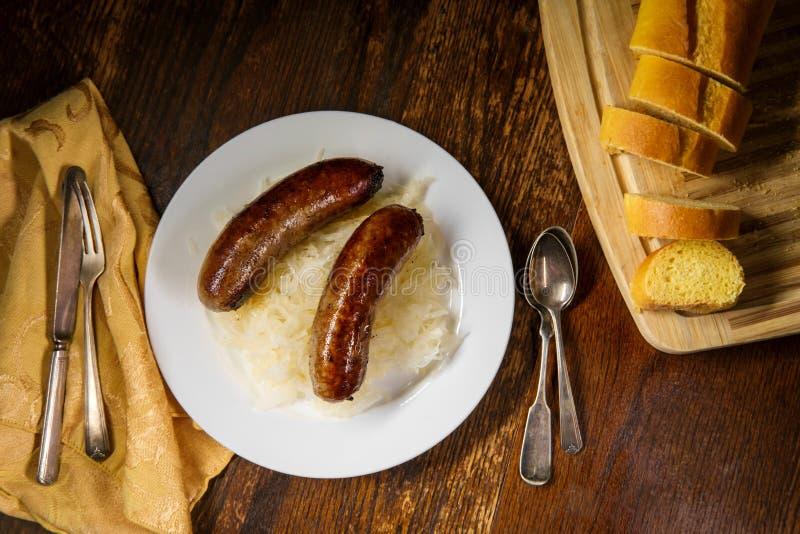 German Bratwurst Sauerkraut royalty free stock photography