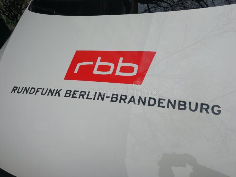 German broadcaster RBB logo. Berlin, Germany - December 1, 2017: RBB sign. Rundfunk Berlin-Brandenburg rbb Berlin-Brandenburg Broadcasting is a broadcasting stock photo