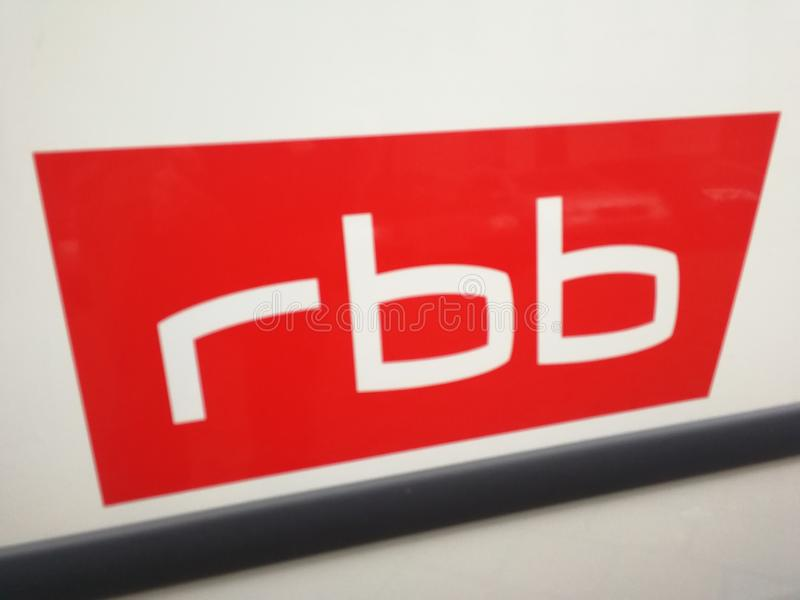 German broadcaster RBB logo. Berlin, Germany - December 1, 2017: RBB sign. Rundfunk Berlin-Brandenburg rbb Berlin-Brandenburg Broadcasting is a broadcasting stock photos