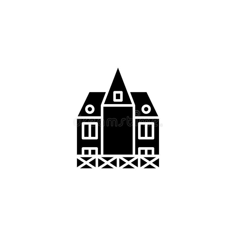 German building black icon concept. German building flat vector symbol, sign, illustration. German building black icon concept. German building flat vector vector illustration