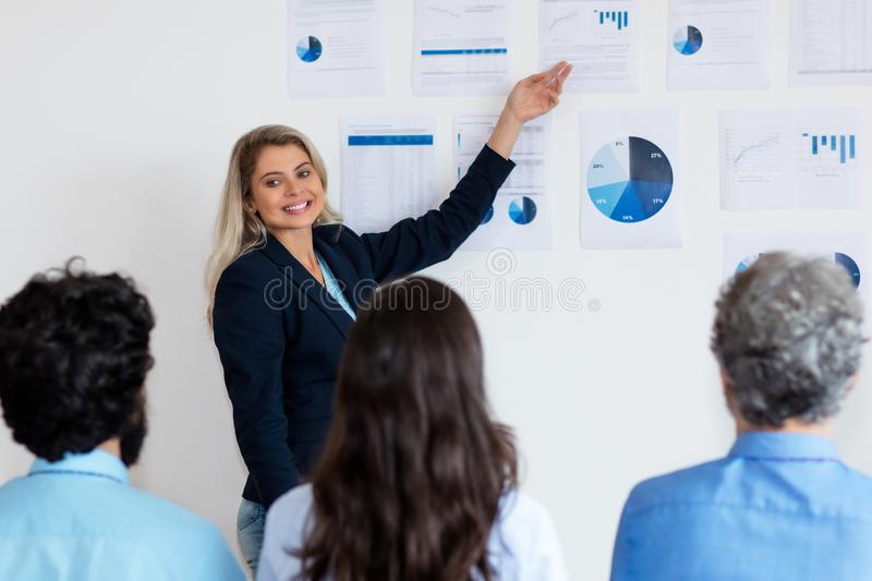 German businesswoman with blond hair giving presentation to colleagues royalty free stock image