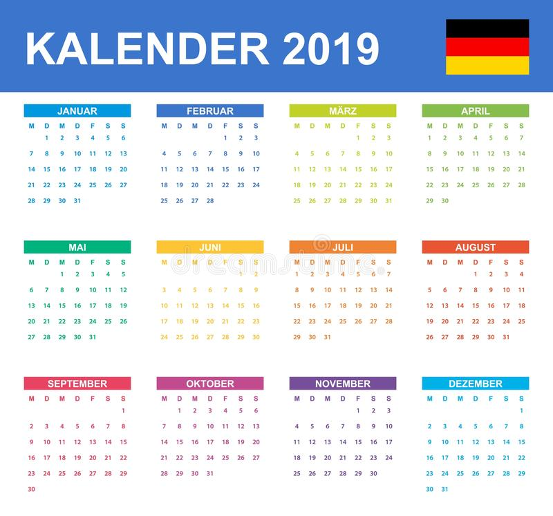 German Calendar for 2019. Scheduler, agenda or diary template. Week starts on Monday.  stock illustration