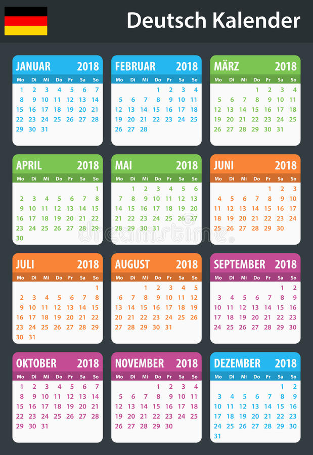 German Calendar for 2018. Scheduler, agenda or diary template. Week starts on Monday vector illustration