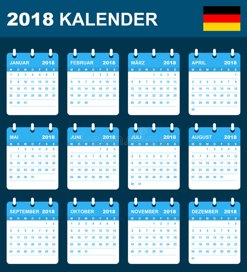 German Calendar for 2018. Scheduler, agenda or diary template. Week starts on Monday.  royalty free illustration