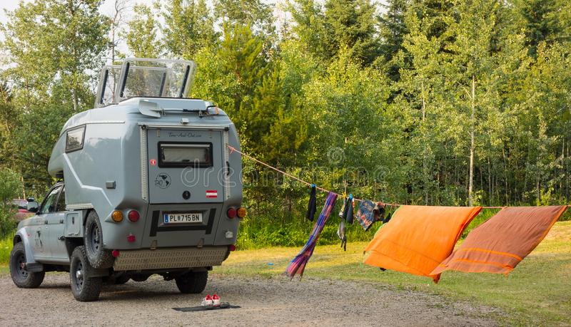 A german campervan in alaska. An imported rv as seen at a campground in the springtime stock photography