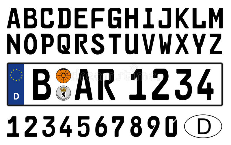 German car plate with symbols, numbers and letters stock illustration