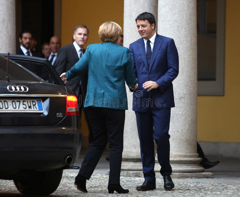 German Chancellor Angela Merkel and Italian Prime Minister Matte. MILAN, ITALY - Oct 17, 2014: German Chancellor Angela Merkel and Italian Prime Minister Matteo royalty free stock photos