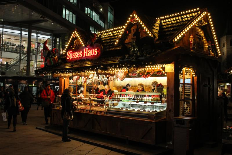 German Christmas Market stall with sweets stock photo