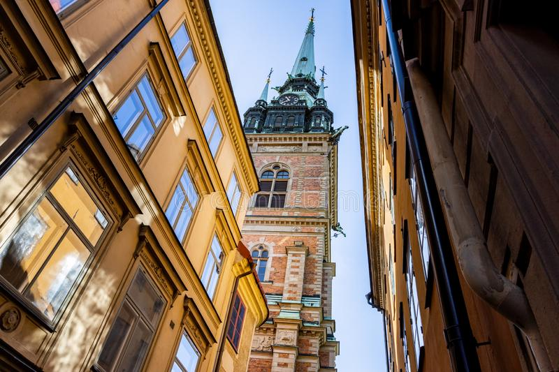 The German church, St. Gertrude`s Church, in Stockholm stock photos