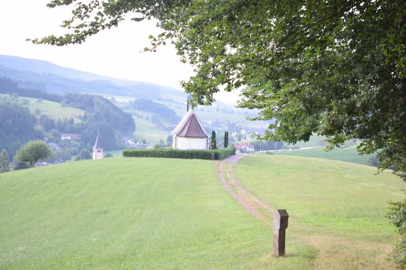 German church surrounded by nature stock photography