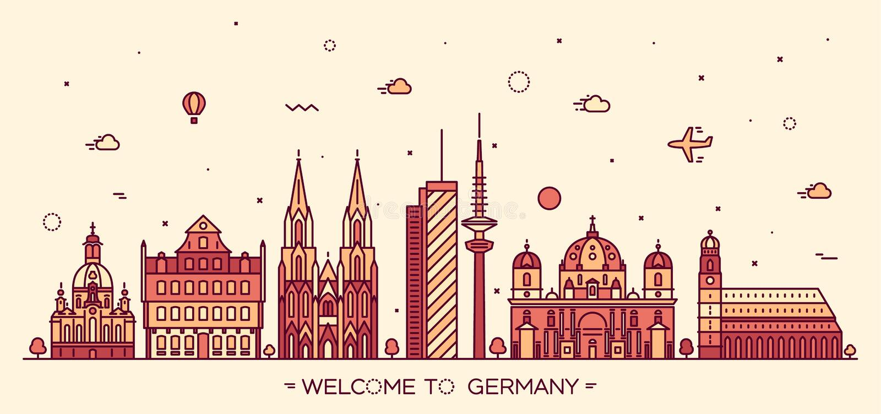 German cities vector illustration linear style. German skyline detailed silhouette Berlin Dresden Frankfurt Cologne Hamburg Munich Trendy vector illustration vector illustration