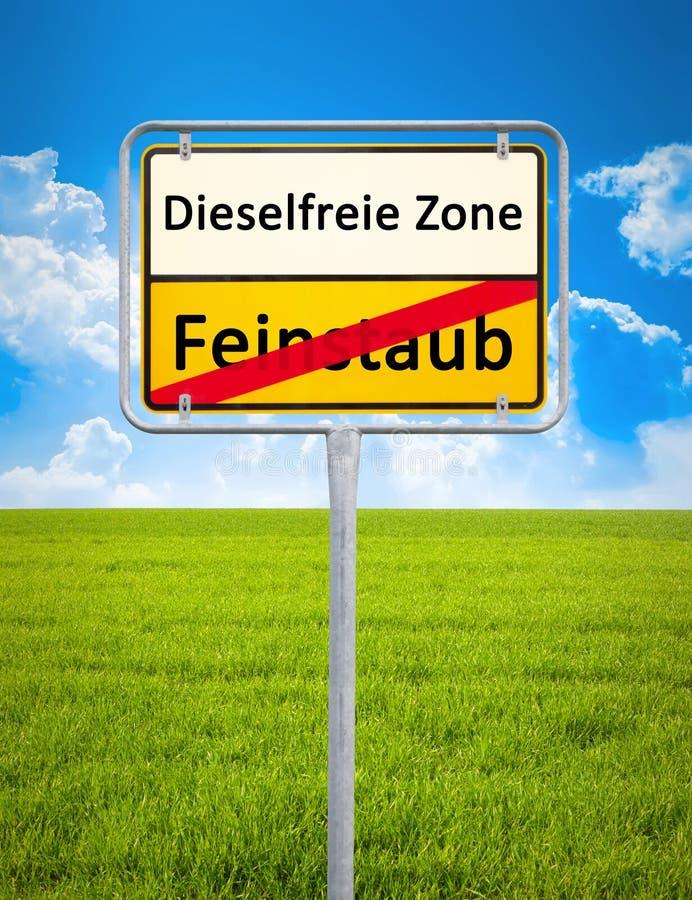 Diesel free zone - no particulate matter. A german city sign with the text diesel free zone - no particulate matter in german language stock images