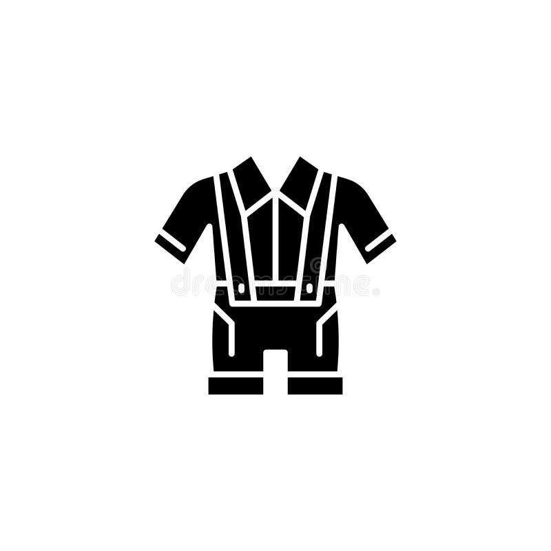 German clothes black icon concept. German clothes flat vector symbol, sign, illustration. royalty free illustration