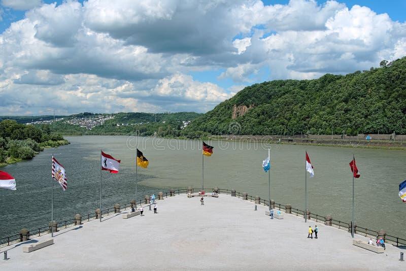 German Corner (Deutsches Eck) in Koblenz, Germany stock image