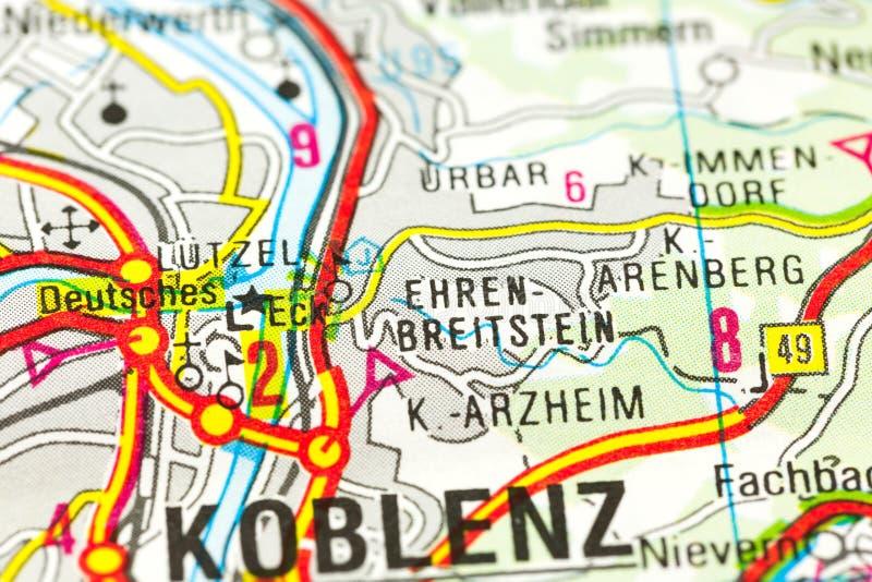 German Corner on map, Koblenz, Rhineland-Palatinate royalty free stock images