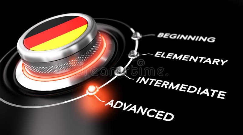 German Courses Level. Modern switch pointing the word advanced. Black background. Concept of german courses or language skill level vector illustration