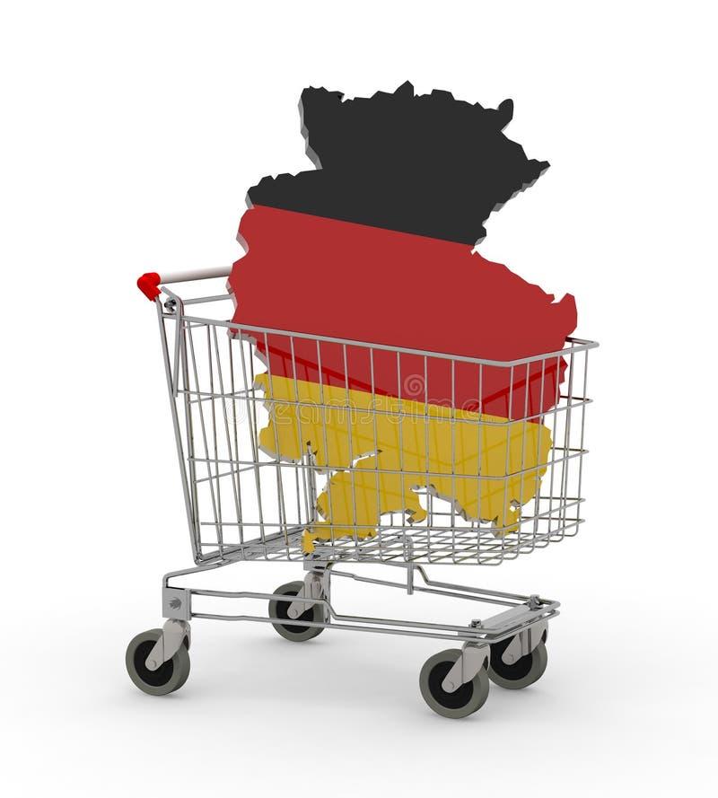 German 3d map into shopping cart. 3d illustration stock illustration