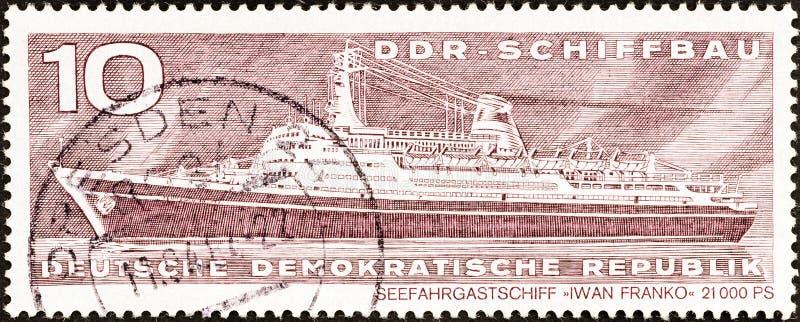 GERMAN DEMOCRATIC REPUBLIC - CIRCA 1971: A stamp printed in Germany shows liner Ivan Franko, circa 1971. stock images
