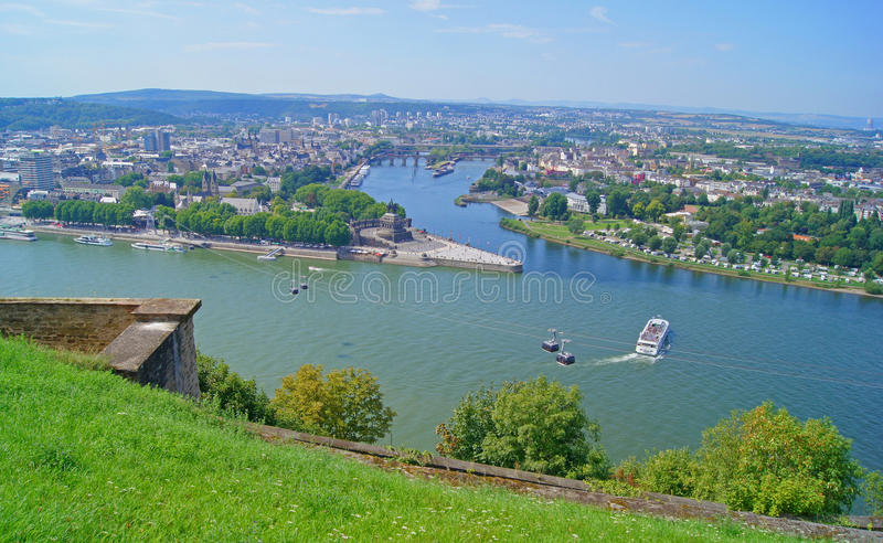 German Eck in Koblenz. Where the Moselle joins the Rhine royalty free stock photos