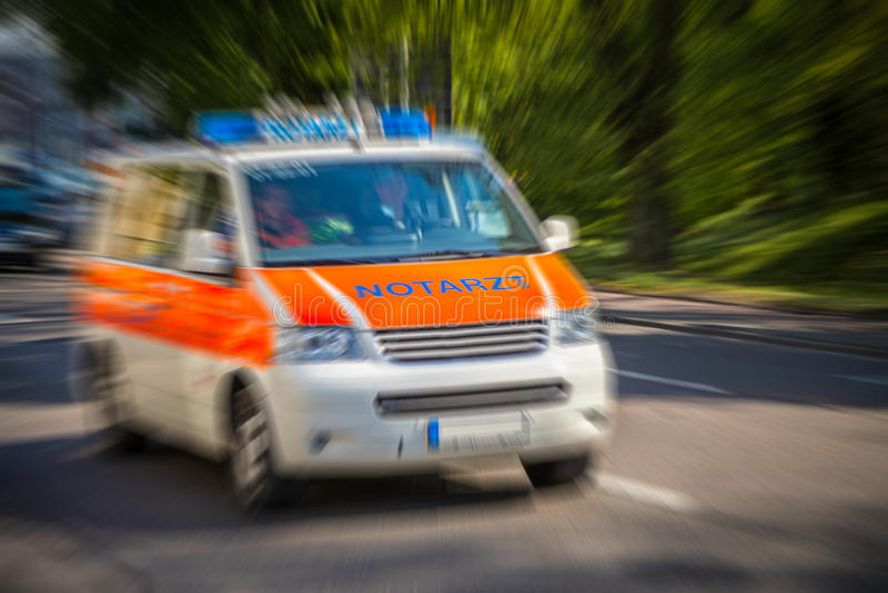 German emergency ambulance car stock photo
