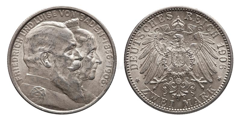 German Empire Baden 2 Mark silver coin vintage 1906. Friedrich and Luise royalty free stock images
