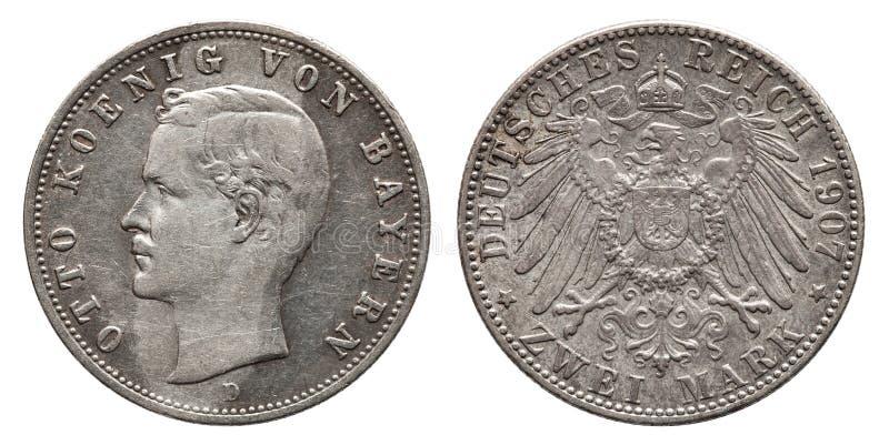 German Empire Bavaria 2 Mark silver coin king Otto vintage 1907. German Empire Bavaria 2 Mark silver coin Otto vintage 1907, front Otto King of Bavaria, reverse royalty free stock photography