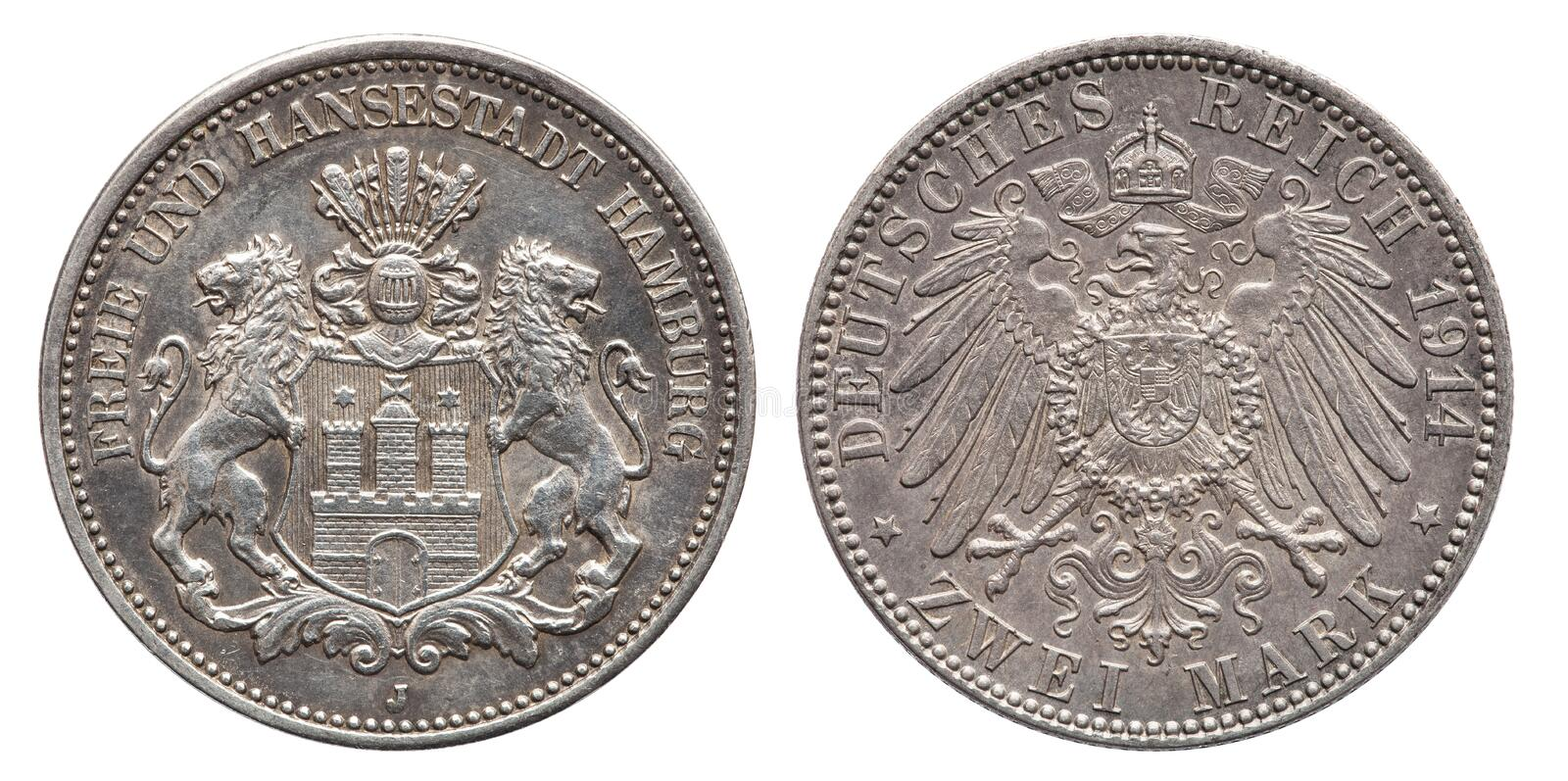 German Empire Hamburg 2 Mark silver coin vintage 1914. Coat of arms and text Free and Hanseatic City of Hamburg royalty free stock photography