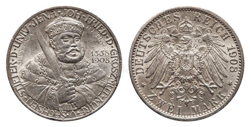 German Empire Saxony 2 Mark Silver Coin University of Jena Year 1908. Front Johann Friedrich, back eagle stock photos