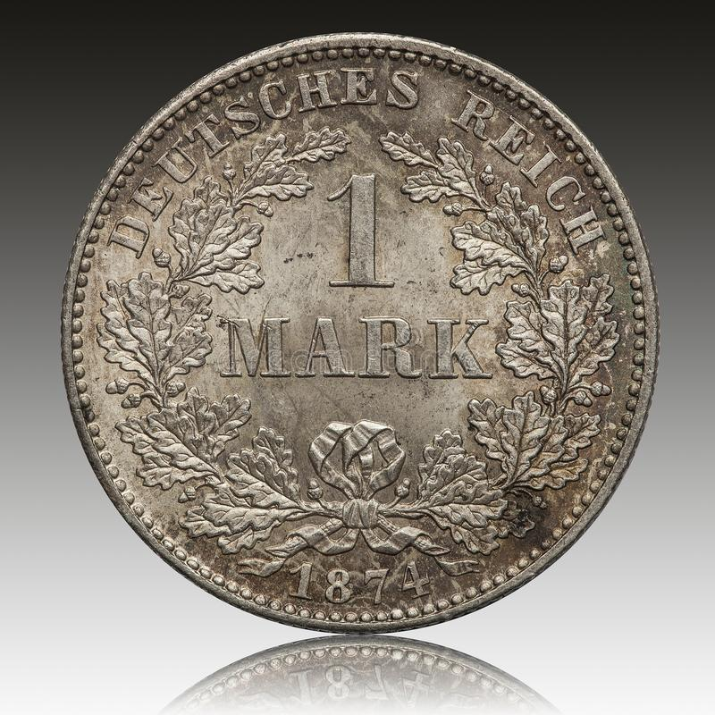 German Empire silver mark coin 1874. Conservation in mint royalty free stock photography