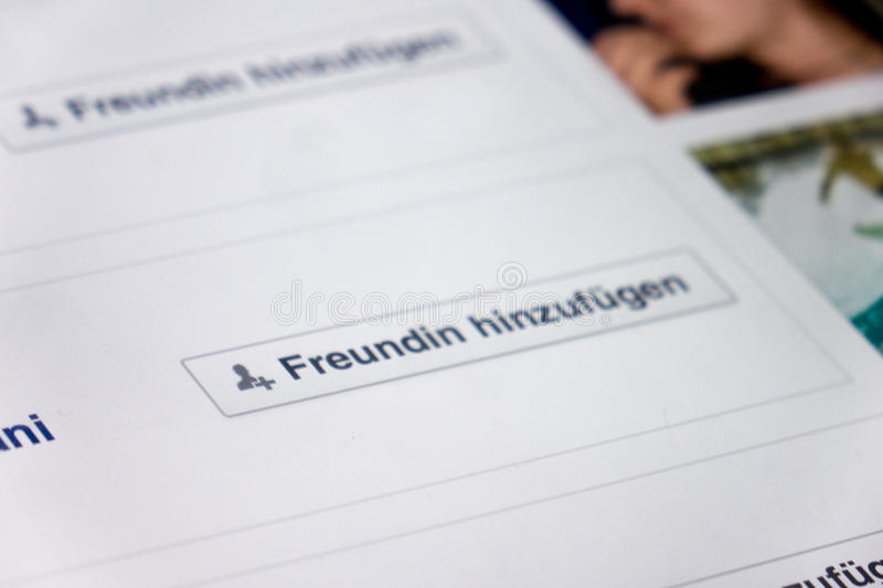 German Facebook. The friend button on german facebook - selective focus on the left side of the button royalty free stock photography