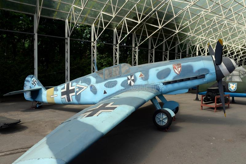 German fighter BF-109 F-2 on Poklonnaya Hill in Moscow stock photos