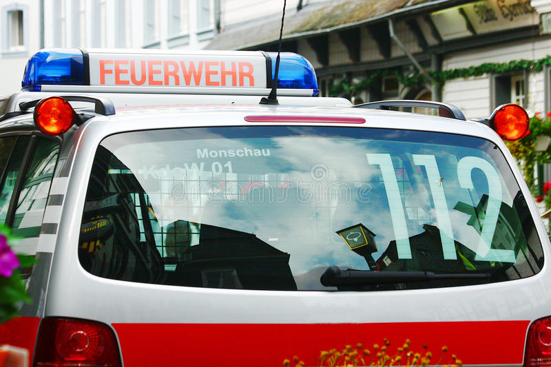 German fire-brigade car. Feuerwehr is the German word for Fire-brigade. This is a German fire-brigade car royalty free stock image