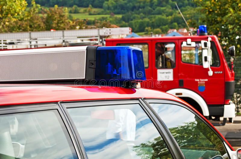 German fire department. Vehicles of the German fire department stock image