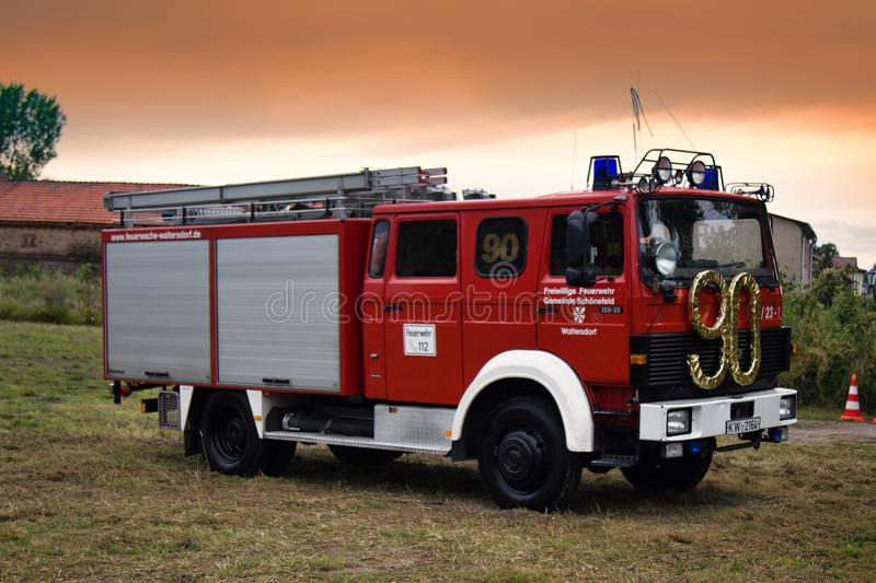 German firefighters special red-white colour. Germany, Frankfurt in Oder - September 9, 2017: German firefighters special red-white colour, fire engine with stock photography