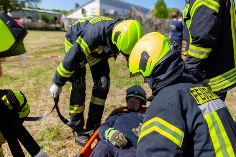 German firefighters train a patient transport stock photo
